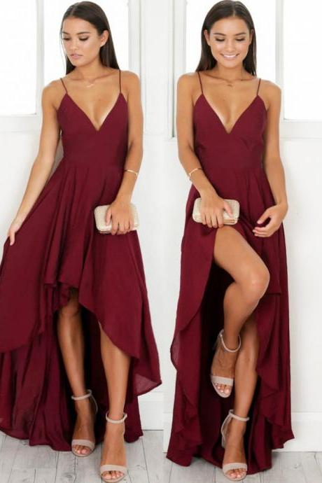 Elegant Straps V Neck Burgundy High Low Chiffon Party Dress