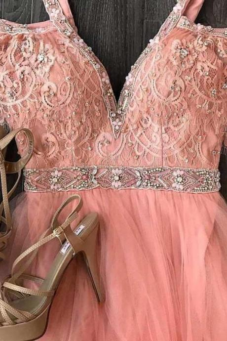 CUTE PINK LACE TULLE LONG PROM DRESS, PINK LACE EVENING DRESSES