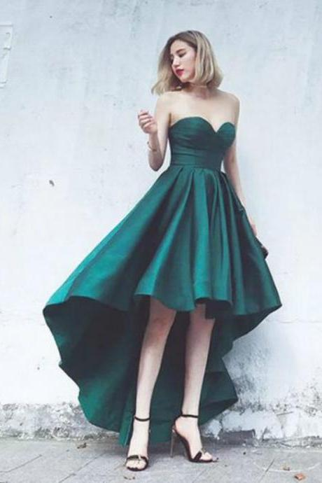 Fashionable High Low Prom Dresses 2017 Emerald Green Satin Sweetheart Party Gowns Simple Evening Dress Custom Made vestido de festa