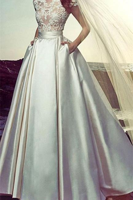 White satins round neck see-through A-line floor-length long prom dress ,lace wedding dress