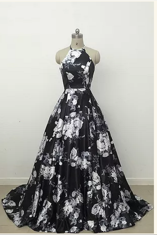 Cute black and white floral satin halte prom dress
