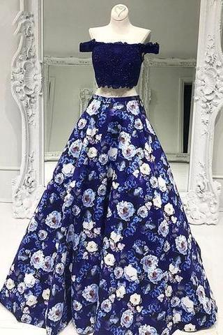 Two pieces off shoulder flower special high quality long Floor-length Prom Dresses Gown,cheap formal prom gown