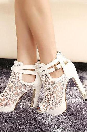 Floral Peep Toe Mesh High Heel Sandals with Crisscross Straps