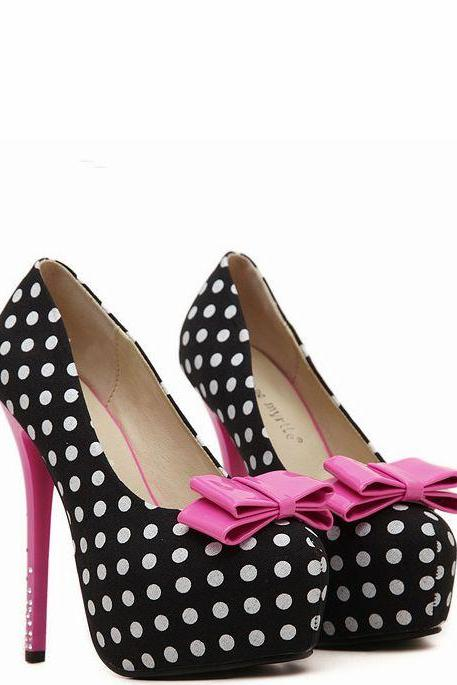 Women's Rounded Toe Stiletto Polka Dot Pumps with Ribbon and Rhinestone Embellished Heel