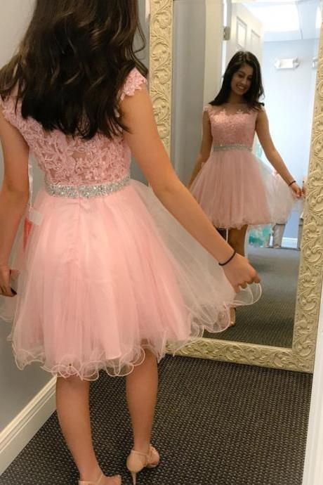 pink homecoming dress,short tulle prom dresses lace appliques,short graduation dresses