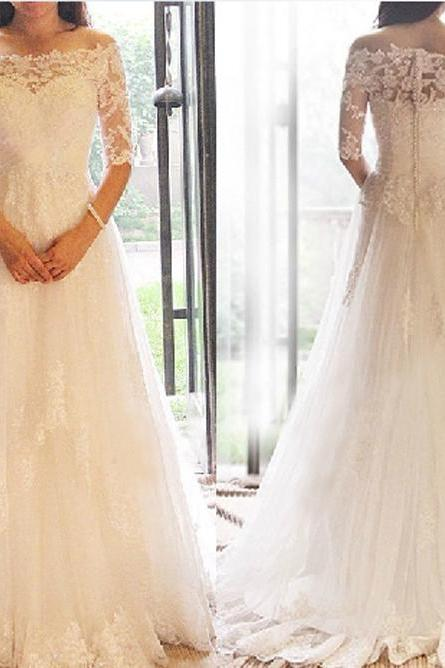 Romantic wedding dress,Off the Shoulder Wedding Dress,Tulle wedding dress,Half-Sleeves Wedding dress