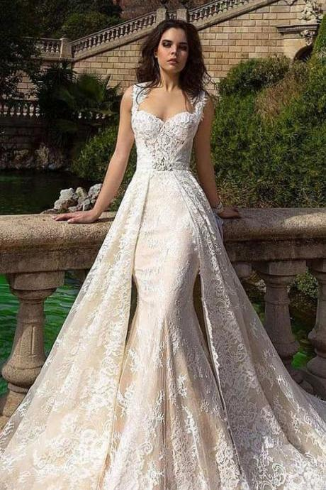 Sleeveless Lace Mermaid Wedding Dress with an Overskirt Chapel Train