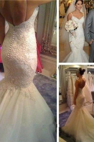 Vestido De Noiva Mermaid Wedding Dresses 2017 V-Neck Sleeveless Backless Chapel Train Lace and Applique Ivory Bridal Gown
