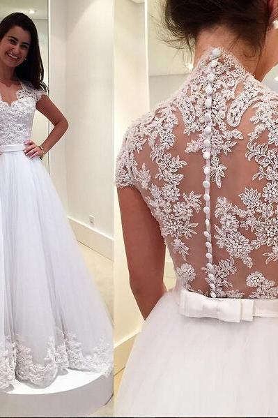 Cap Sleeve Wedding Dress, A Line Wedding Dress, White Wedding Dress, Lace Applique Wedding Dress, Bridal Dresses 2018,