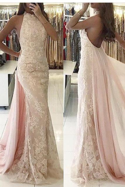 Pink Evening Dress, Pale Pink Evening Dress, Lace Evening Dress, High Neck Evening Dress, Detachable Skirt Evening Dress, Mermaid Evening Dress, Sexy Evening Dress,