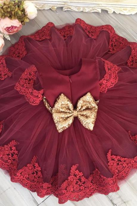 Flower girl dress, sequin flower girl dress, embroidered flower girl dress, red baby girl birthday outfit, red party dress, cheap baby girl party dress, baby girl lace dress,