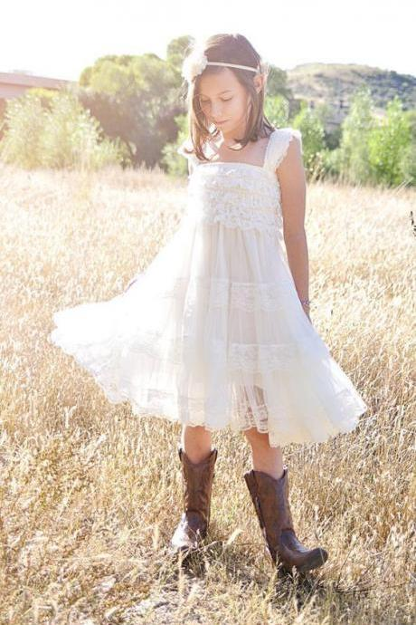 Ruffled Flower Girl Dress Rustic Junior Bridesmaid Dress