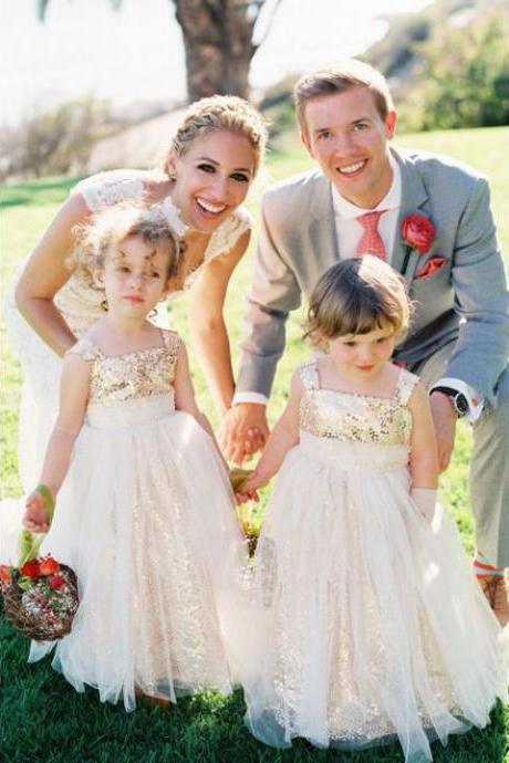 Sparkly A-line Gold Sequins Long Flower Girl Dress