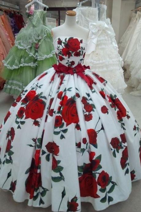 Ball Gowns Rose Floral Print Quinceanera Dresses Birthday Dresses Prom Dresses Evening Dresses
