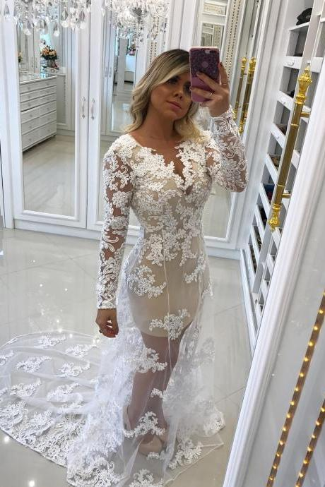Sexy Prom Dress, Appliques Lace Prom Dress, Long Sleeve Evening Dress, Formal Dress