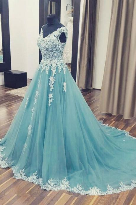 Unique Prom Dresses,A Line Prom Dress,V neck Prom Dress,Appliques Prom Dress,Long Prom Gown,Formal Party Dress,Charming Prom Dresses