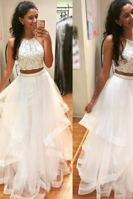A-line Scoop Floor-length Sleeveless Tulle Prom Dress/Evening Dresses