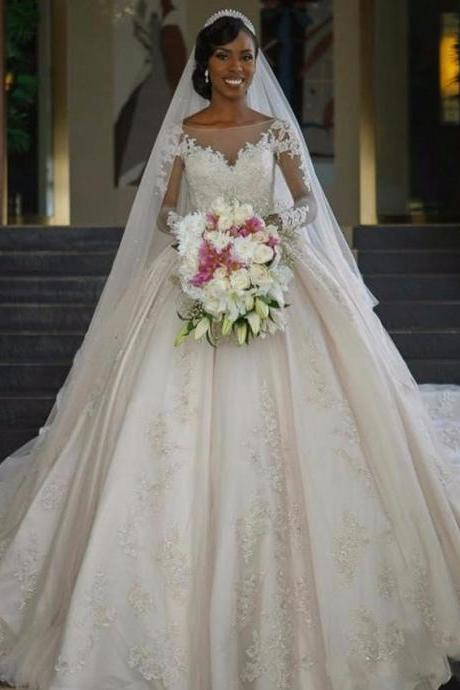 Vestido de Noiva Ball Gall Wedding Dresses Sexy Boat Neck Long Sleeves Court Train Lace Applique Trouwjurk Bride Gowns