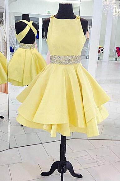 Yellow Cross Back Homecoming Dress Short Cute Party Dress With Beading
