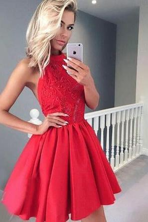A-Line Jewel Backless Red Homecoming Dress with Appliques