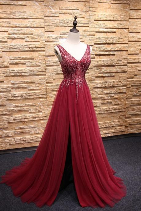 Charming Prom Dress, Sparkly Beaded Prom Dress, A Line Appliques Prom Dress, Long Evening Dress, Formal Dress