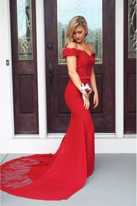 Prom Dress,Prom Dresses with Appliques and Lace, Mermaid Evening Dress,Red Elegant Lace Evening Dresses