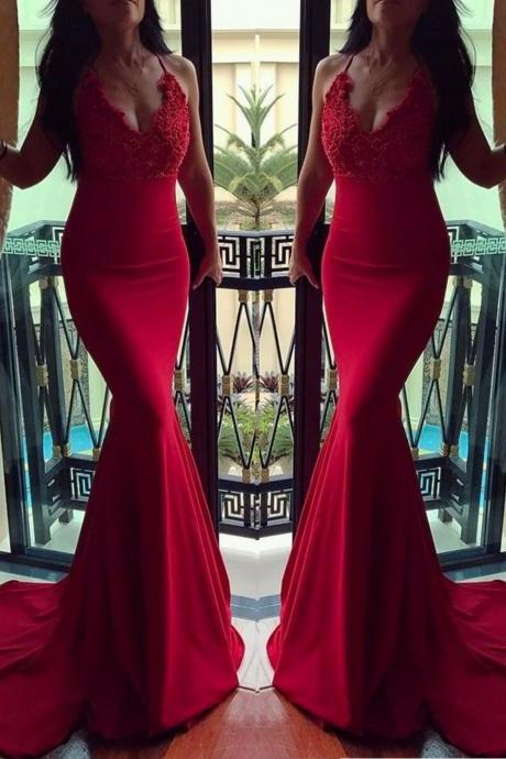 red mermaid v neck Spaghetti straps evening dress,long prom dress,elegant prom dresses appliques formal dresses