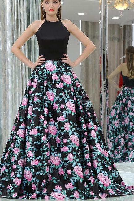 sexy Halter Black Long Floral Prom Dress Long Dress wedding dresses partydress