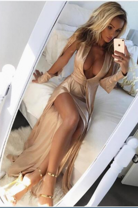 Sexy Champagne Prom Dress Evening Dress Sheath Deep V-neck Satin Slit Long Prom Dresses Evening Dress Formal Dress