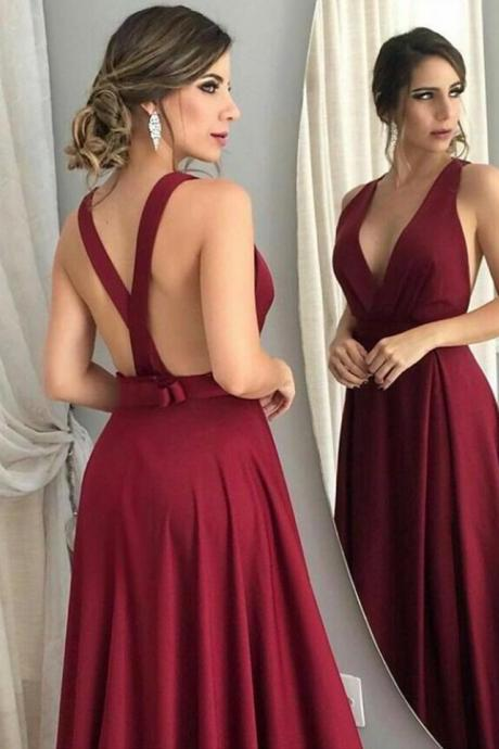 Burgundy Bridesmaid Dresses,Open Back Prom Dress,Long Formal Dress,Burgundy Prom Dress