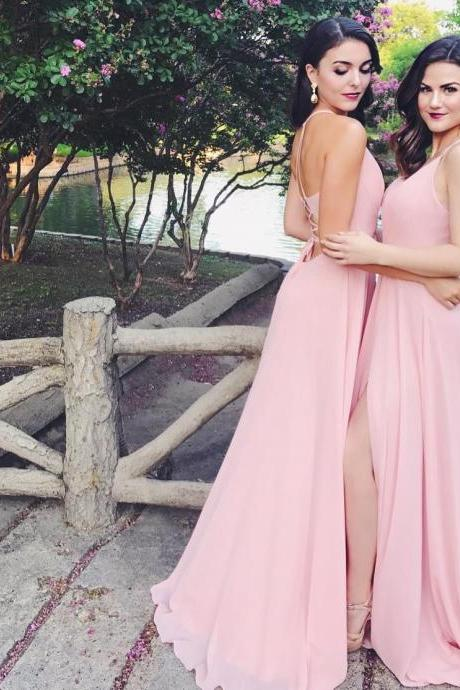 Chiffon Long Bridesmaid Dresses with Slit Lace Up Back V Neck Party Gowns