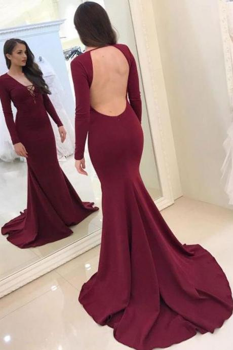 Sexy Mermaid Backless Lace UP Front Burgundy Prom Dresses Evening Dresses with Long Sleeves