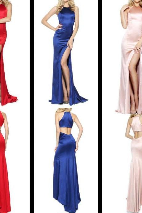 Halter Mermaid Satin Long Prom Dress with Slit Formal Evening Gown