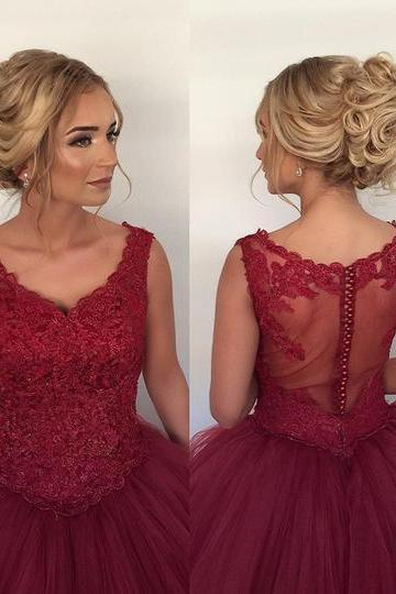 Burgundy Tulle Prom Dresses,Prom Dresses for Teens,Sleeveless Prom Dresses,Simple Prom Dresses,Women Party Dresses
