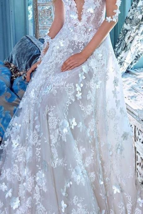 V-Neck Wedding Dress,Lace Wedding Gowns,Appliques Evening Dresses,Backless Wedding Dresses,Long Beautiful Wedding Dresses,New Arrival Wedding Dresses,Wedding Dresses