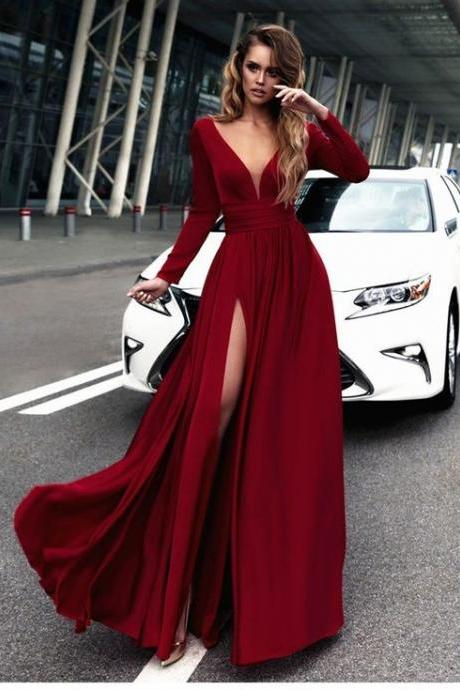 Gorgeous Burgundy Long Prom Dresses, Long Sleeves Prom Dress,Sexy Slit Prom Evening Dress, Chiffon Prom Dress