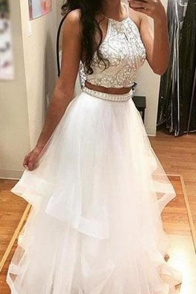 New Style White Beading A-line Tulle Two Pieces Prom Dresses 2017