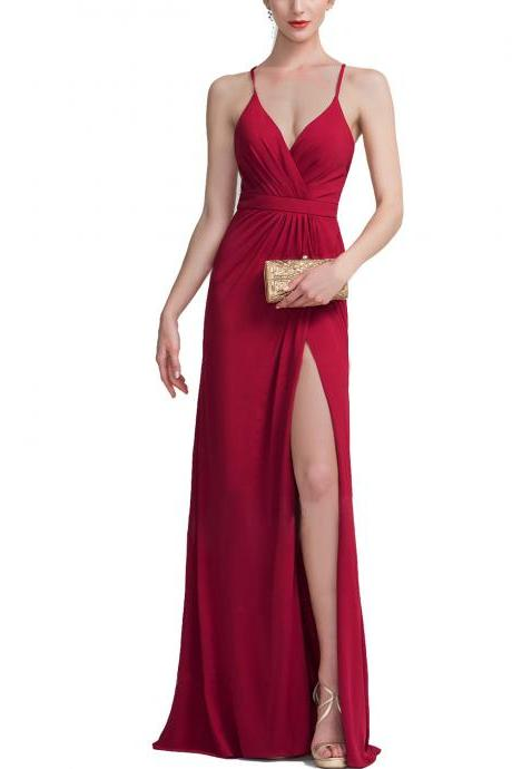Sheath Column V-neck Floor-Length Jersey Evening Dress With Ruffle,Deep V Neck Long Chiffon Backless Red Prom Dress with Side Split