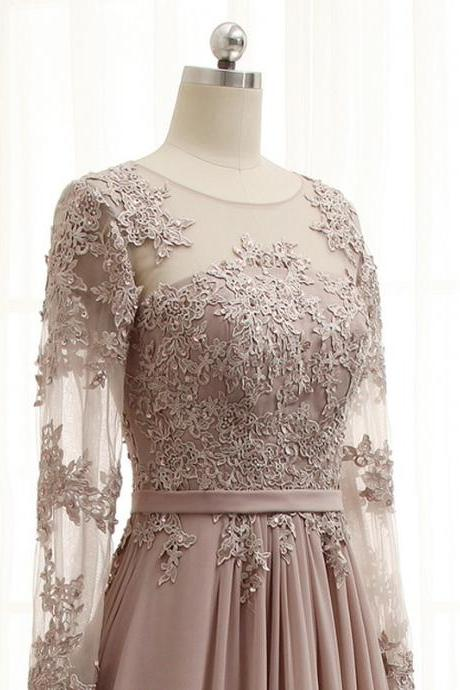 Top Lace A Line Long Chiffon Grey Lace Prom Dress with Long Sleeves, 2017 Chiffon Long Sleeve Muslim Party Dress