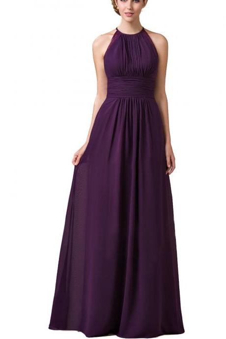 Purple Chiffon Halter Neck Floor Length A-Line Bridesmaid Dress Featuring Open Back