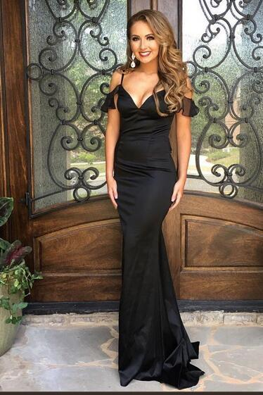 43e48cbe2a1 Black Mermaid Satin Prom Dresses Off the Shoulder Sleeveless Evening Dresses  Formal Gowns