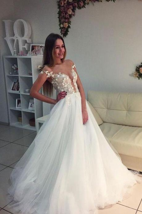 White off shoulder prom dress, tulle long prom dress, elegant lace prom dress