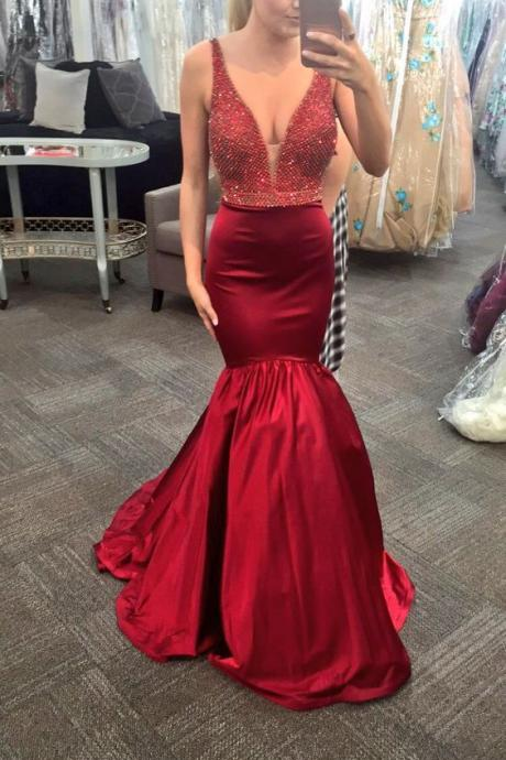 Sleeveless V Neck Prom Dress,Sexy Mermaid Evening Dress,Long Prom Dress,Formal Dress