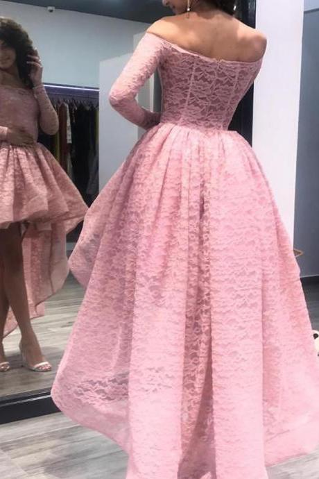 Off the shoulder Pink Long Sleeve High Low Prom Dress Evening Dress