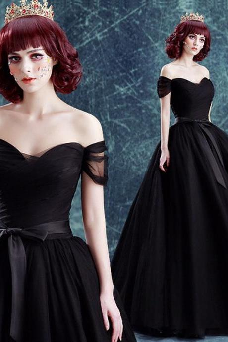 Black Tulle Long Prom Dresses,Off Shoulder Party Dress For Wedding Formal Dress Wedding Party Dresses