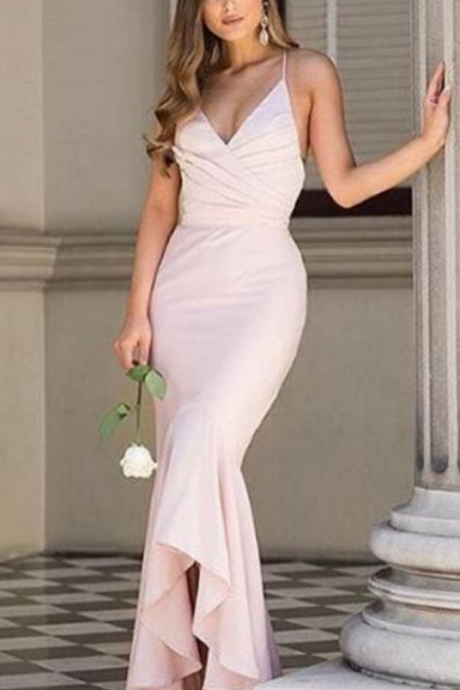 Sexy Prom Dress, Sheath Prom Dresses,Halter Evening Dress, Light Pink Evening Dresses, Satin Formal Dress