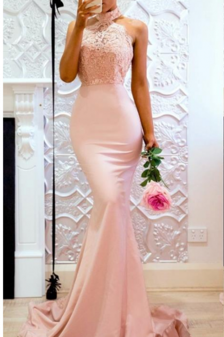 Pink Long High Neck Mermaid Lace Evening Dresses Open Back Applique Sweep Train Maid Of honor Party Dress For Bridesmaid Prom Dress