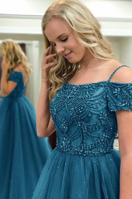 Ball Gown Off-the-Shoulder Sweep Train Dark Blue Tulle Prom Dress with Beading,Romantic Prom Dresses,Wedding dress,clothing,Women's clothing,2018 Evening Dress,