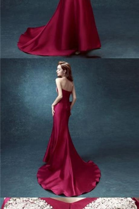 Sexy Prom Dresses Trumpet/Mermaid Elastic Woven Satin Long Prom Dress/Evening Dress