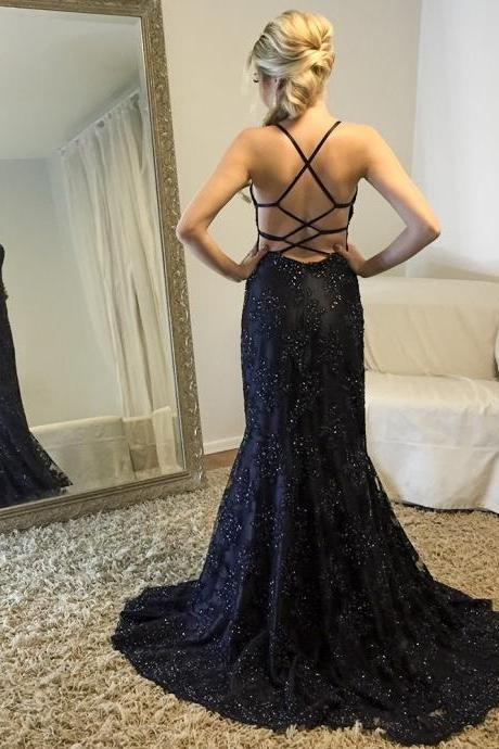 Charming Prom Dress, Backless Appliques Beaded Mermaid Prom Dresses, Long Evening Dress